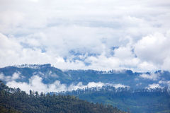View at valley on cloudy morning from Adam's peak Stock Photography
