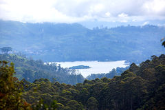 View at valley on cloudy morning from Adam's peak Royalty Free Stock Photography