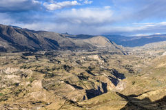 View of the valley in the Colca Canyon, Peru Royalty Free Stock Photos