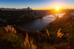 View of the valley of the Douro river and Dom Luis I bridge, Oporto Stock Image