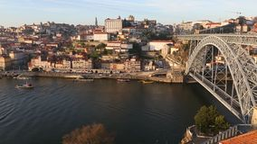 View of the valley of the Douro river and Dom Luis I bridge, Oporto. Portugal stock video