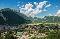 View of the valley from the Faverges castle`s tower, in the village of Faverges Royalty Free Stock Photography