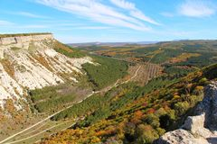 Mountain valley in the autumn in Crimea stock photography