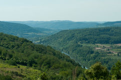 View of a valley in Germany. A view to several forest hills in the Moselle region in Germany Royalty Free Stock Images