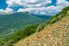View from Valley of Ghosts to Chatyr-Dah mountainous massif near Alushta resort, Crimean peninsula Stock Photography