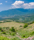 View from Valley of Ghosts to mountains near Alushta resort, Crimean peninsula Stock Photo