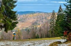 Beautiful autumnal mountain landscape. stock photos