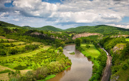 View of the valley. View from the hill into the valley with the Berounka river royalty free stock images