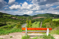 View of the valley. View from the hill into the valley with the Berounka river stock image