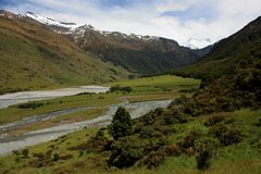 View at the valley leading to the Rob Roy Glacier in New Zealand stock images