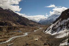 View of Valley at Manang Village on the Annapurna Circuit stock photos