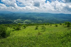 View the Valley from Whitetop Mountain, Grayson County, Virginia, USA. View of the valley from a Mountain Meadow with Mountains in the background from the Top of Royalty Free Stock Images