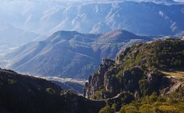 A view of the valley and mountains in the valley. stock photography