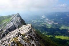 View of valley near aizkorri mountains Stock Photos