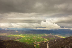 A view of the valley of Norcia, italy, in a stormy morning of ju Royalty Free Stock Images