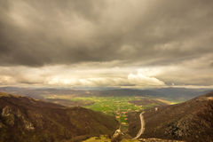 A view of the valley of Norcia, italy, in a stormy morning of ju Royalty Free Stock Photo