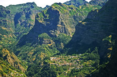 View on the Valley of Nuns, Madeira Island, Portugal. Village in The Valley of Nuns Madeira Island, Portugal Royalty Free Stock Photos