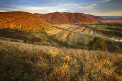 View of a valley over hills in autumn stock images