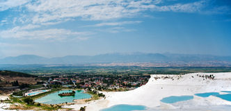 View of valley with pond in pamukkale Royalty Free Stock Images