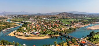 View at the valley of the river Buna and Bahcallek city from the stock photos
