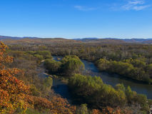 View of the valley river Ussuri. Autumn landscape with the river Royalty Free Stock Photo