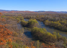 View of the valley river Ussuri. Autumn landscape with the river Stock Photography