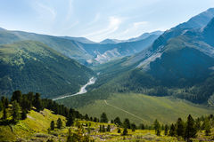 View of the valley of the river Yarlu. Trekking in the Altai Mountains Royalty Free Stock Image