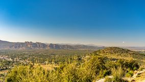 View on valley of roquebrune sure agens, cote d`azur, france stock image