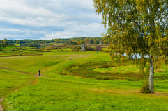 View of the valley of Soroti river in Pushkinskiye Gory, Russia - autumn landscape in cloudy weather Stock Photo