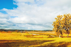 View of the valley of Soroti river in Pushkinskiye Gory, Russia - autumn sunny colorful landscape view Stock Photos