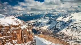 View of the valley from the summit of Sass Pordoi, Dolomites, timelapse stock footage