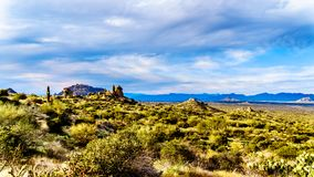 View of the Valley of the Sun and the rugged rocky mountains in the McDowell Mountain Range viewed from th. View of the Valley of the Sun and the rugged rocky stock photo