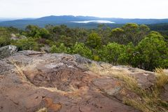 View into the valley and to a lake at Reeds Lookout, Grampians, Victoria, Australia Royalty Free Stock Image