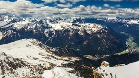 View of the valley from the top of Sass Pordoi peak, Dolomites, timelapse stock video