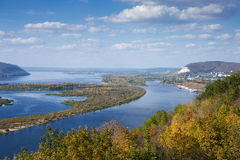 View of valley of the Volga river from the hill Stock Photos