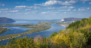 View on the valley of Volga river. From the hill royalty free stock images