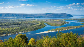View on the valley of Volga river. From the hill royalty free stock photo
