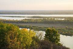 View of the valley of the Volga river on the sunset Royalty Free Stock Photography