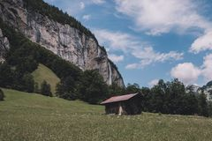 View valley of waterfalls in national park of city Lauterbrunnen, Switzerland. Europe. Summer landscape, sunshine weather, dramatic blue sky and sunny day stock images
