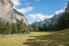 View valley of waterfalls in national park of city Lauterbrunnen, Switzerland. Europe. Summer landscape, sunshine weather, dramatic blue sky and sunny day royalty free stock photo