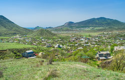 View on valley where Sudak town located Royalty Free Stock Images