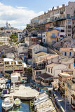 View of Vallon des Auffes, picturesque old-fashioned little fish Royalty Free Stock Photos
