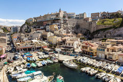 View of Vallon des Auffes, picturesque old-fashioned little fish Royalty Free Stock Photography