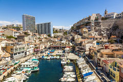 View of Vallon des Auffes, picturesque old-fashioned little fish Stock Images