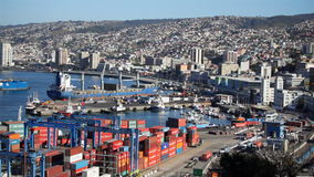 View of Valparaiso in Chile. View of the Port of Valparaiso, Chile stock video