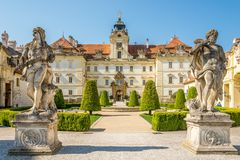 View at the Valtice castle with statues in Czech republic, Moravia Royalty Free Stock Images