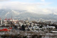 View of vancouver city after snow Royalty Free Stock Images