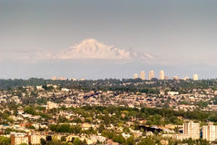 View of Vancouver with the distant mountain peak. This mountain is located in the USA Stock Image
