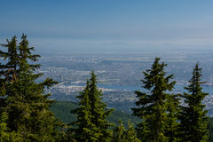 View in Vancouver from Graus Mountain. Vancouver - Grouse Mountains, Cambie Bridge, BC Place Stadium and downtown Royalty Free Stock Image