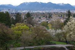 View of Vancouver from Queen Elizabeth Park stock photo